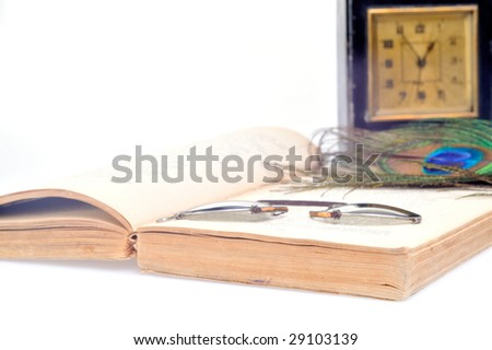 old clock, book and glasses - stock photo
