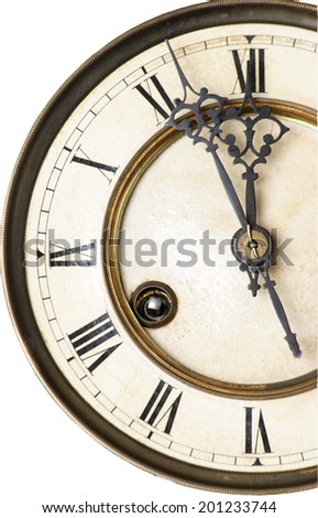 old clock, clock-face isolated on white background - stock photo