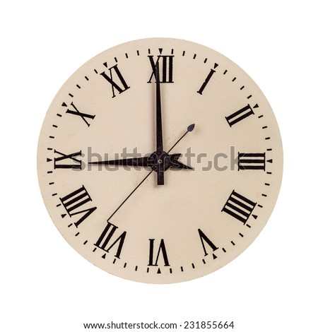 Old clock face showing nine o'clock isolated over white - stock photo