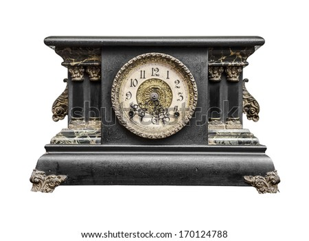Old clock isolated on a white - stock photo