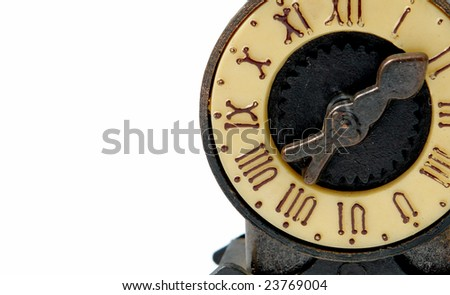 old clock machine on white background with roman numbers - stock photo
