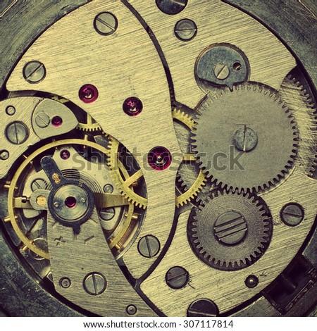 Old clock mechanism. Retro stale. - stock photo