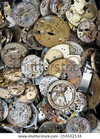 Old clock mechanisms background - stock photo