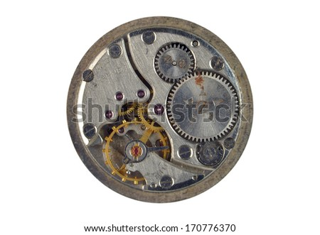 old clock, on a white background - stock photo