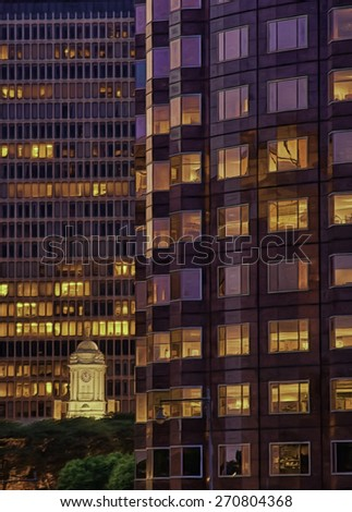 Old Clock Tower Against Glass Skyscrapers in Hartford, Connecticut - stock photo