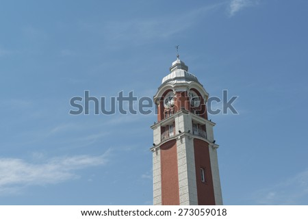 old clock tower of Varna, Bulgaria. The translation. - stock photo