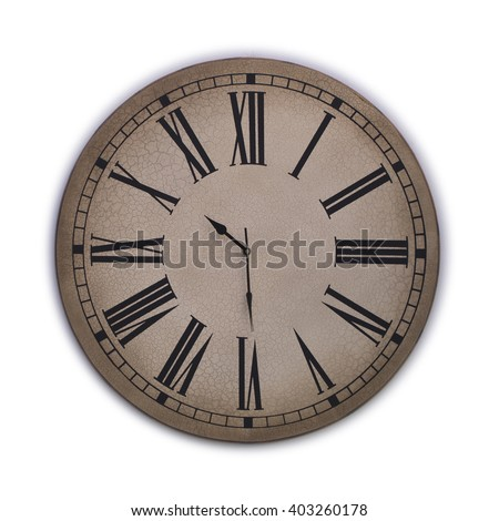 Old clock with roman numerals on a white background - stock photo