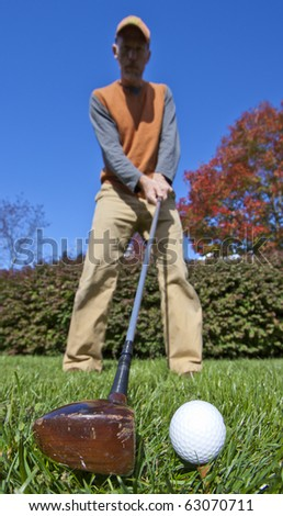 Old club used in the fairway - stock photo