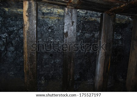 Old coal mining shaft with wooden supports