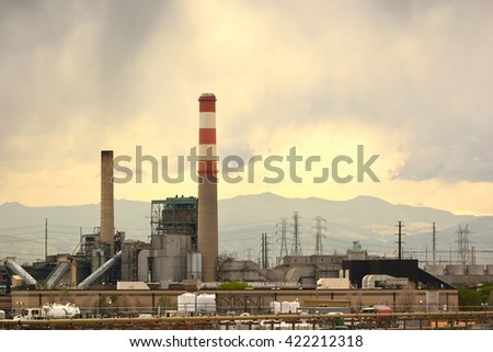 Old Coal Power Plant Not Running - stock photo