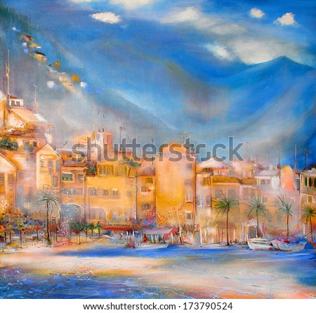 Old coastal town - stock photo