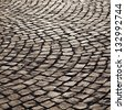 old cobble stone street in Frankfurt - stock photo