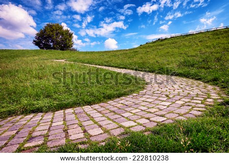 old cobblestone footpath at a park - stock photo