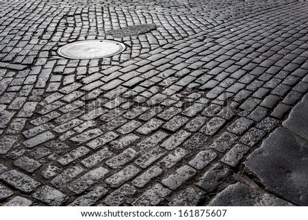 Old cobblestone street from New York City
