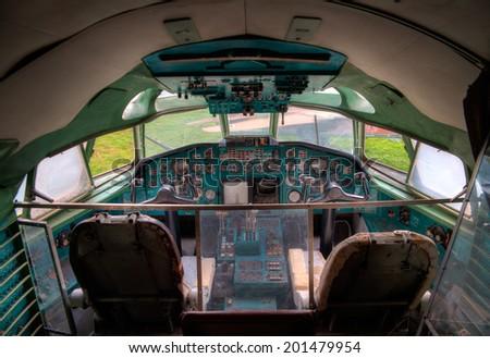 old cockpit - stock photo