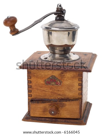 Old Coffee Grinder - isolated on white