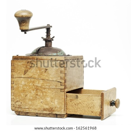 old coffee grinder, open drawer - stock photo