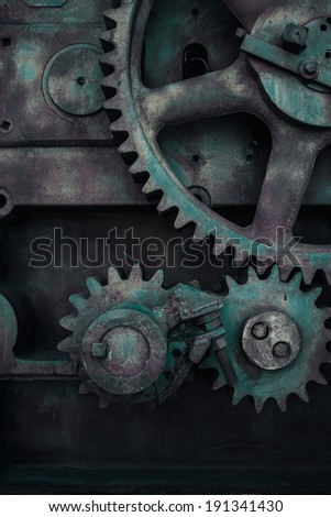 Old cog wheels gears background, closeup - stock photo