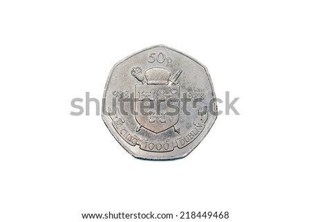 Old Coins - Irish fifty pence Dublin Millennium 1988  - stock photo