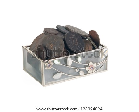 Old coins of Russian Empire. Chest with coins. Isolated on white background. Clipping path. - stock photo