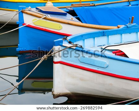 Old color boats on water. Old Port, Nice, French Riviera, France - stock photo