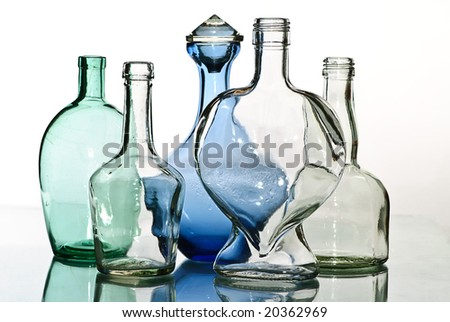 old color  glass  bottle reflection,