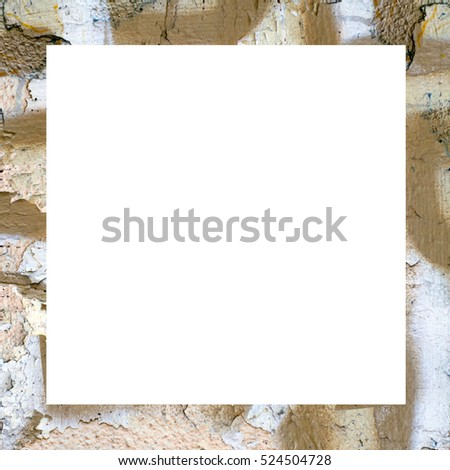 Old Color Grunge Painted Plaster Stucco Wall Vintage Weathered Frame With Abstract Antique Cracked Scratched Texture And Retro Pattern. Empty Space For Image Or Text. Square 1:1 Aspect Ratio