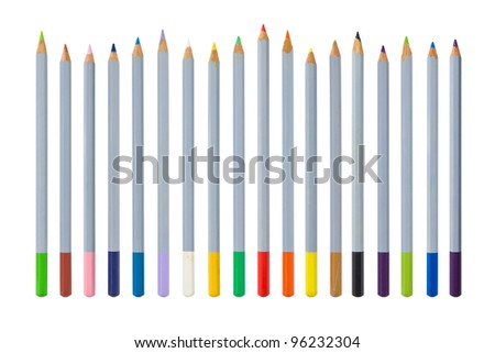 Old color pencils isolated on white background