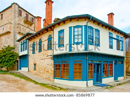 Old colored house in Karies the Capital of monastery community in Holy mountain Athos in Greece