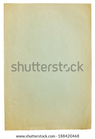 Old colored sheet of paper isolated on white - stock photo