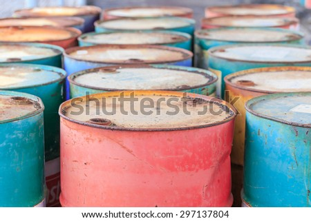 old colorful iron rusty barrel drum close up background and textures - stock photo