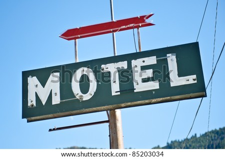 Old colorful motel sign - stock photo