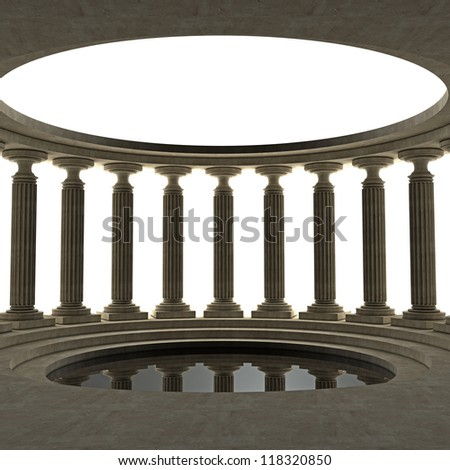 Old columns is ancient style. High resolution Realistic 3D illustration sepia toned