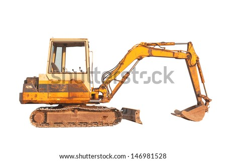 Old compact size excavator machine, isolated on white background - stock photo