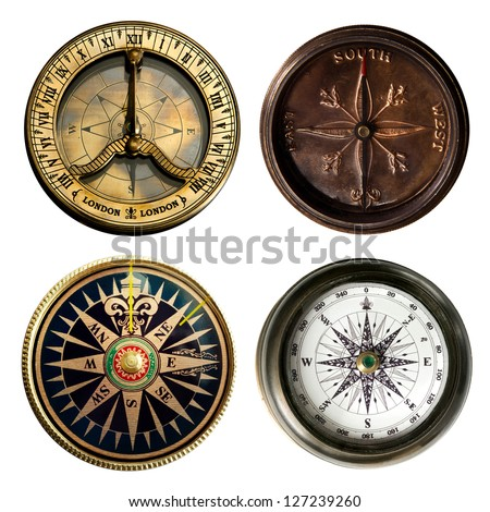 old compass collection - stock photo