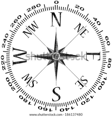 old compass picture isolated on a white  - stock photo