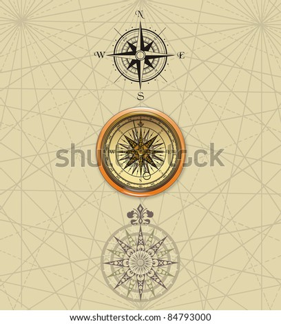 Old compass rose - stock photo
