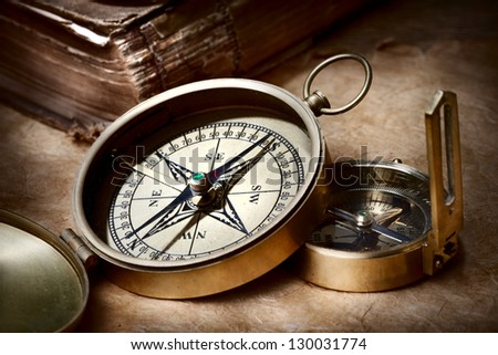 Old compasses - stock photo