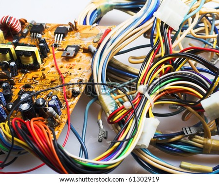 Old computer board and conductors. - stock photo