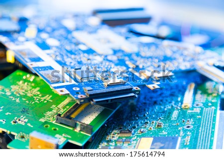 Old computer boards for recycling - stock photo