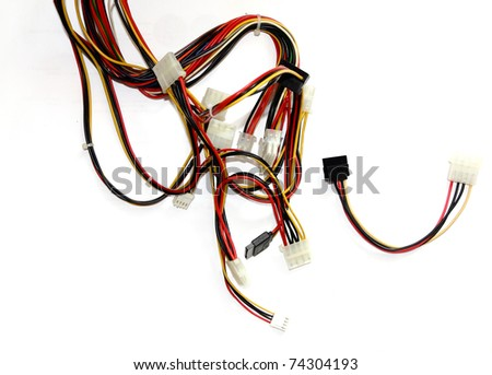 old computer cables on a white background - stock photo