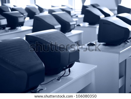 Old computer classroom in a Chinese middle school. - stock photo