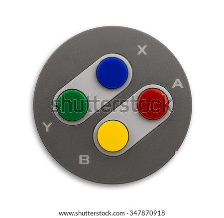 Old computer console controller buttons shot from above and isolated on a white background. - stock photo