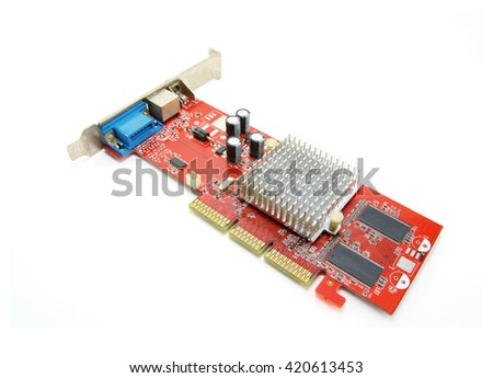 Old computer graphic card on white background