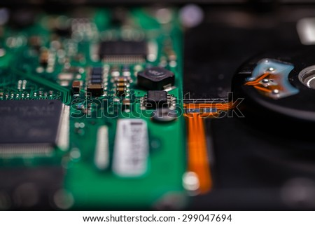 Old computer hardware,Hard disc. - stock photo