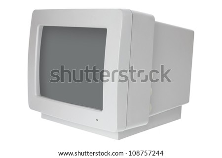 Old Computer Monitor on White Background - stock photo