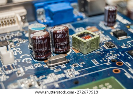 old computer motherboard - stock photo