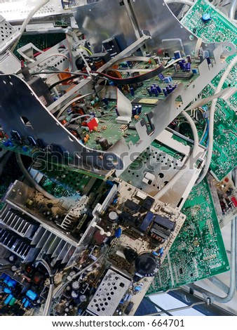Old computer parts for recycling - stock photo