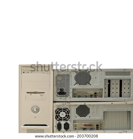 old computers for electronic recycling isolated on white - stock photo