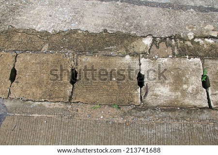 old Concrete Drain waterway cover - stock photo